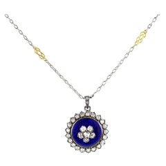 Antique Georgian Enamel Diamond Forget Me Not Pendant