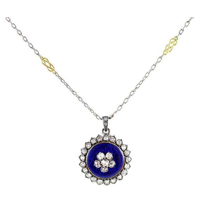 Antique Georgian Enamel Diamond Forget Me Not Pendant For Sale