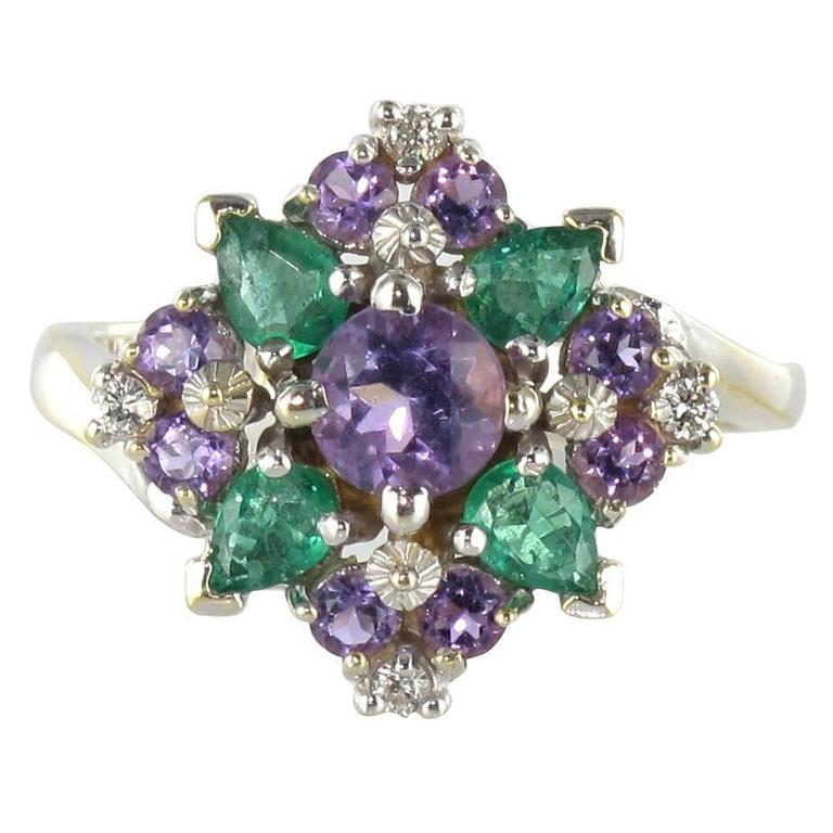 1970s emerald amethyst white gold ring at 1stdibs