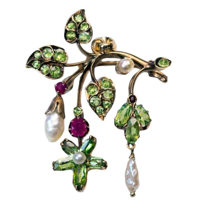 Antique Art Nouveau Russian Demantoid Ruby Pearl Gold Pendant Brooch