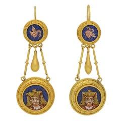 1870s Egyptian Revival Micro Mosaic Gold Ear Pendants
