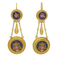 1870s Egyptian Revival Micro Mosaic Gold Ear Pendants