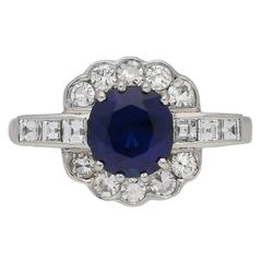 Royal Blue Natural Unenhanced Burmese Sapphire Diamond Platinum Engagement Ring