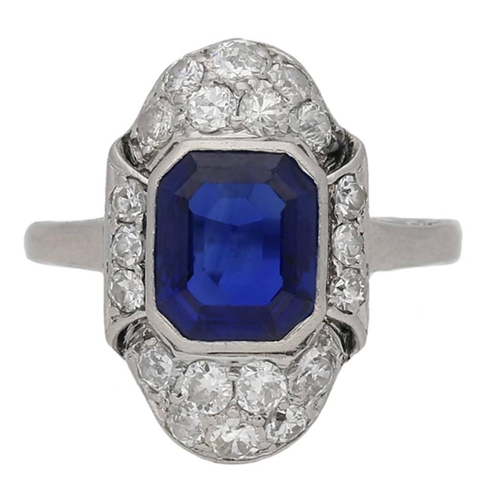 Art Deco Natural Sapphire Diamond Platinum Ring