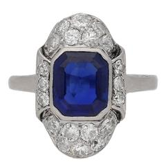 Art Deco Natural Sapphire Diamond Platinum Ring