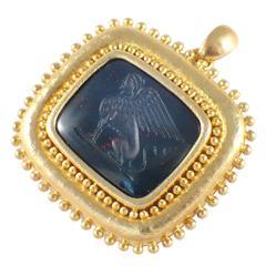 Elizabeth Locke Intaglio Gold Pin Pendant