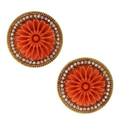 1970s French Gold Coral Diamond Flower Ear Clips