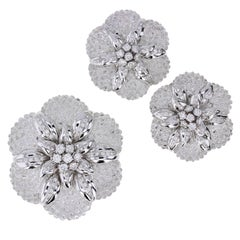 Sabbadini Rock Crystal Diamond Gold Brooch Earrings Demi-Parure