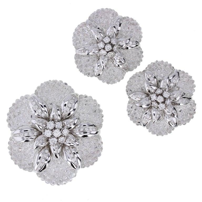 Sabbadini Rock Crystal Diamond Gold Brooch Earrings Demi-Parure For Sale