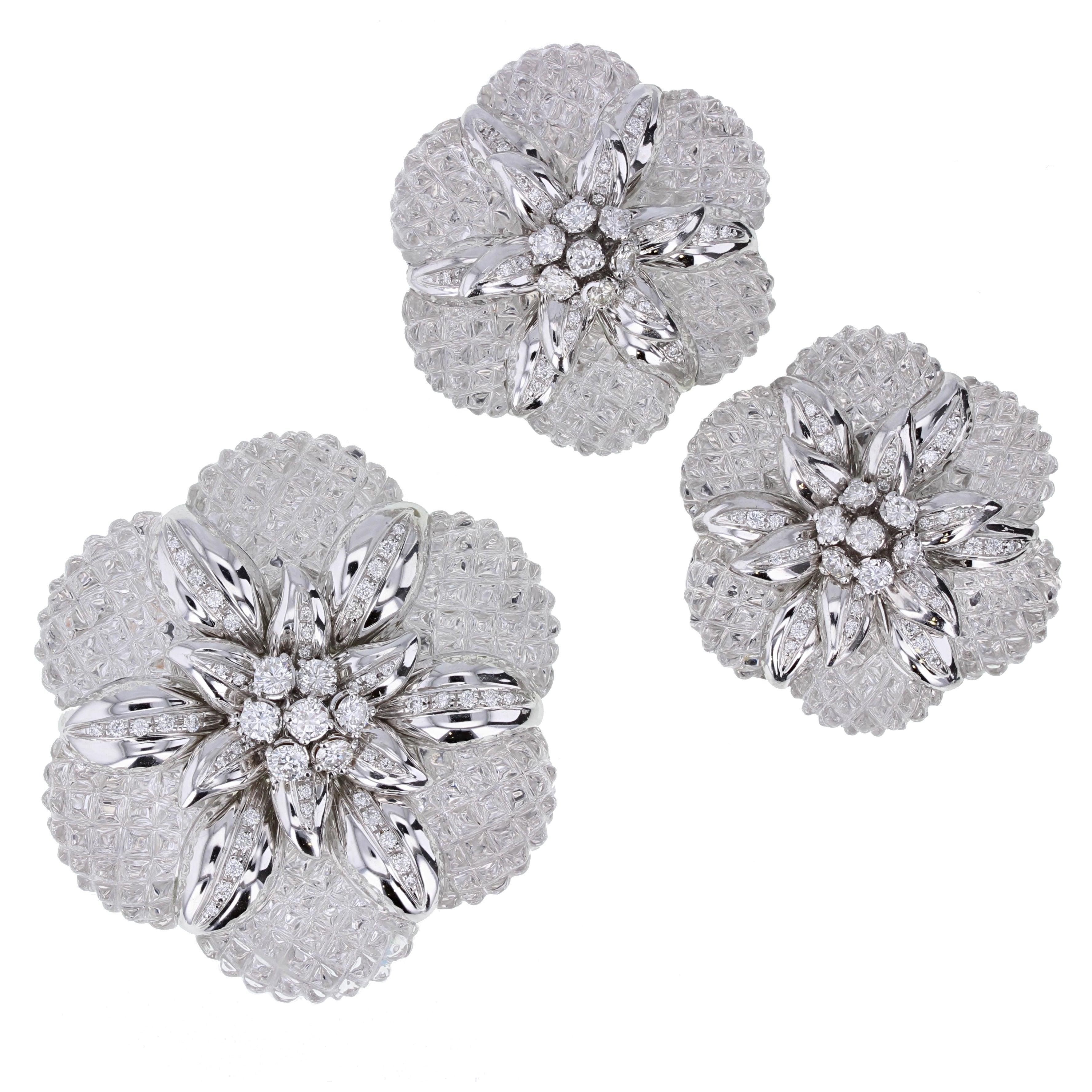 Sabbadini Rock Crystal Diamond Gold Brooch Earrings Demi-Parure