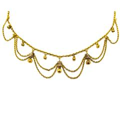 Elegant Antique Gold Scalloped Necklace