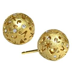 Barbara Heinrich Whimsical Diamond Gold  Milky Way Stud Earrings