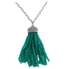 Beautiful Emerald Diamond Silver Tassel Necklace