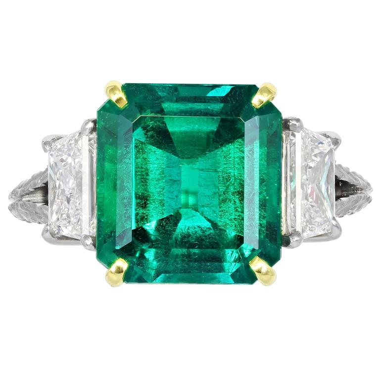 5.00 Carat Colombian Emerald Diamond Gold Platinum Ring