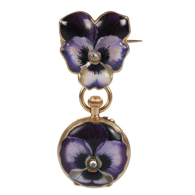 Faberg 233 Antique Diamond Gold Painted Enamel Pansy Pendant