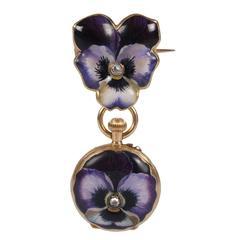 Fabergé Antique Diamond Gold Painted Enamel Pansy Pendant-Brooch Watch