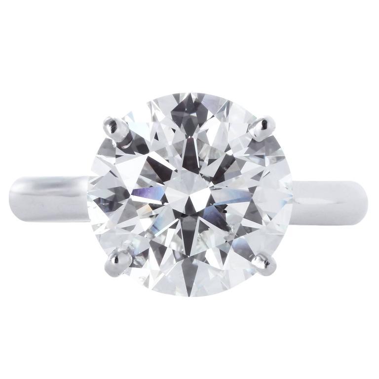 5.08 Carat Round Brilliant Cut Diamond Platinum Ring
