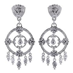 5.25 Carats Round Brilliant Cut Diamond Gold Chandelier Earrings