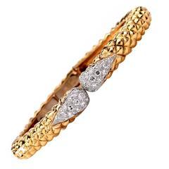 Modern Diamond Gold Cuff Bangle Bracelet