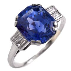 Art Deco French Natural Ceylon Sapphire Diamond Platinum Ring