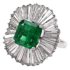1960s Colombian Emerald Diamond Platinum Ballerina Ring