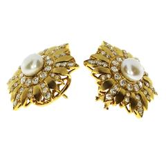 1960s French Pearl Diamond Gold Earrings