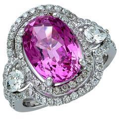 6.27 Carat GIA Cert Pink Sapphire Diamond Gold Ring