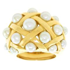 "Chanel ""Matelasse"" Pearl Set Gold Ring"