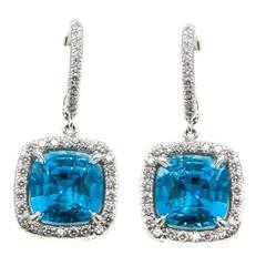 Blue Zircon Diamond Platinum Earrings