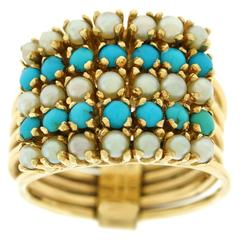 1960s Persian Turquoise Pearl Gold Harem Ring