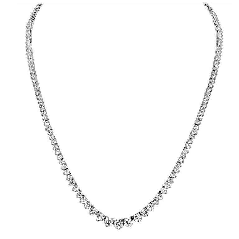 11.86 Carat Diamond Gold Riviere Necklace