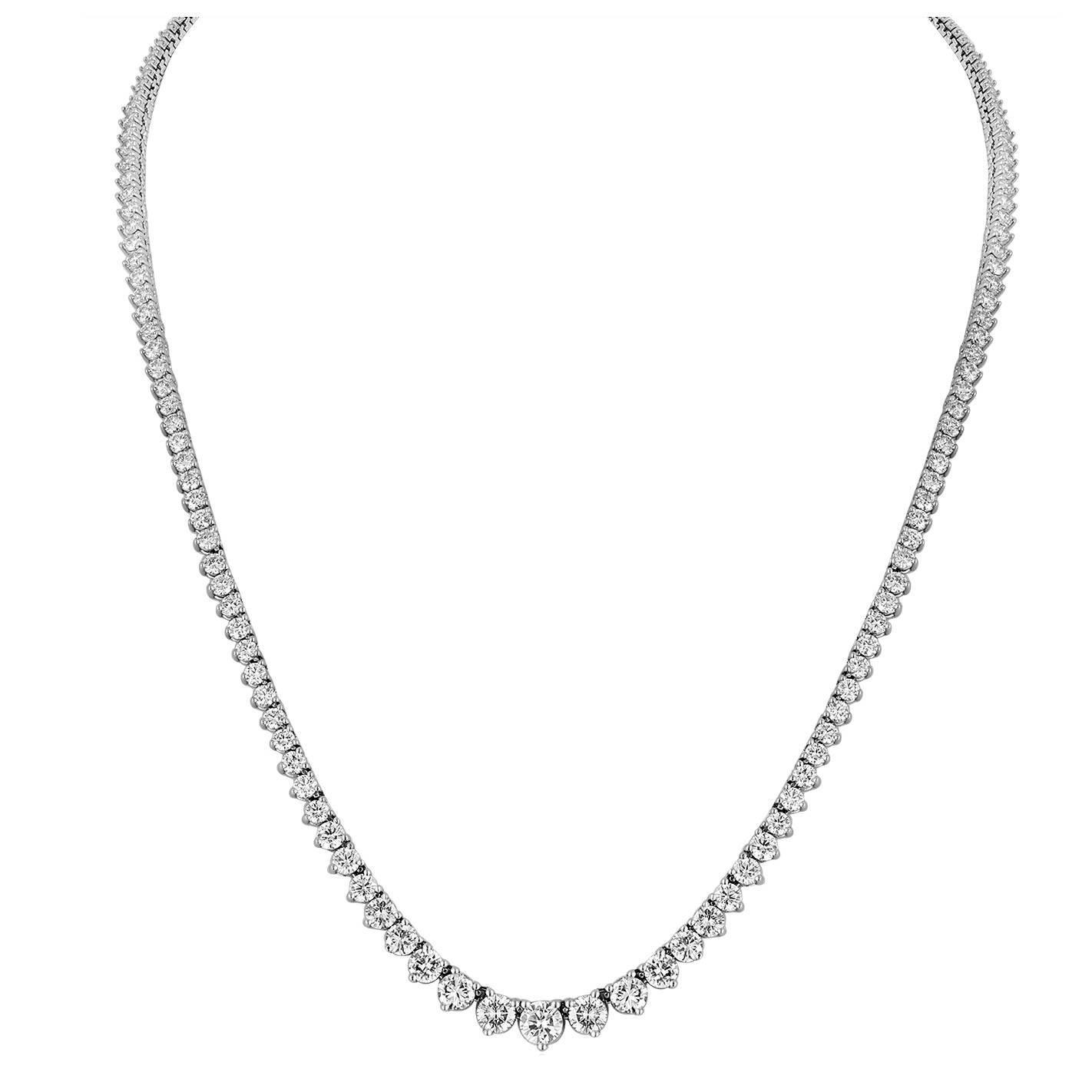 11.86 Carat Diamond Gold Riviere Necklace