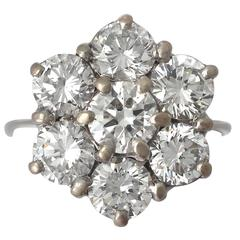 3.02Ct Diamond and 18k White Gold Cluster Ring - Vintage Circa 1970