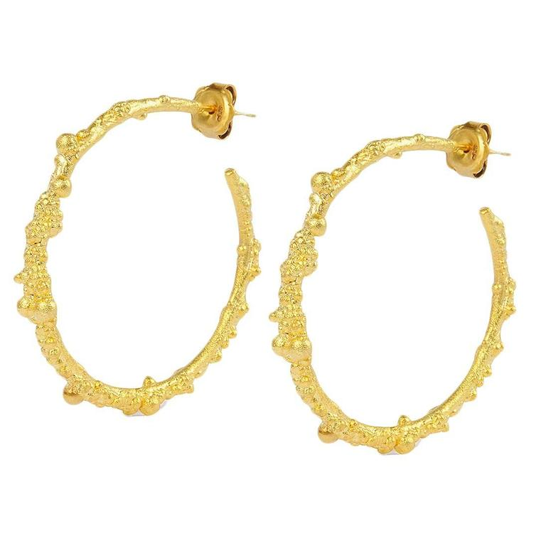 Milena Kovanovic Silver Gold Vermeil Textured Hoop Earrings For At 1stdibs