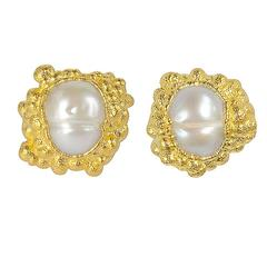 Milena Kovanovic Freshwater Pearl Gold Vermeil Silver Stud Earrings