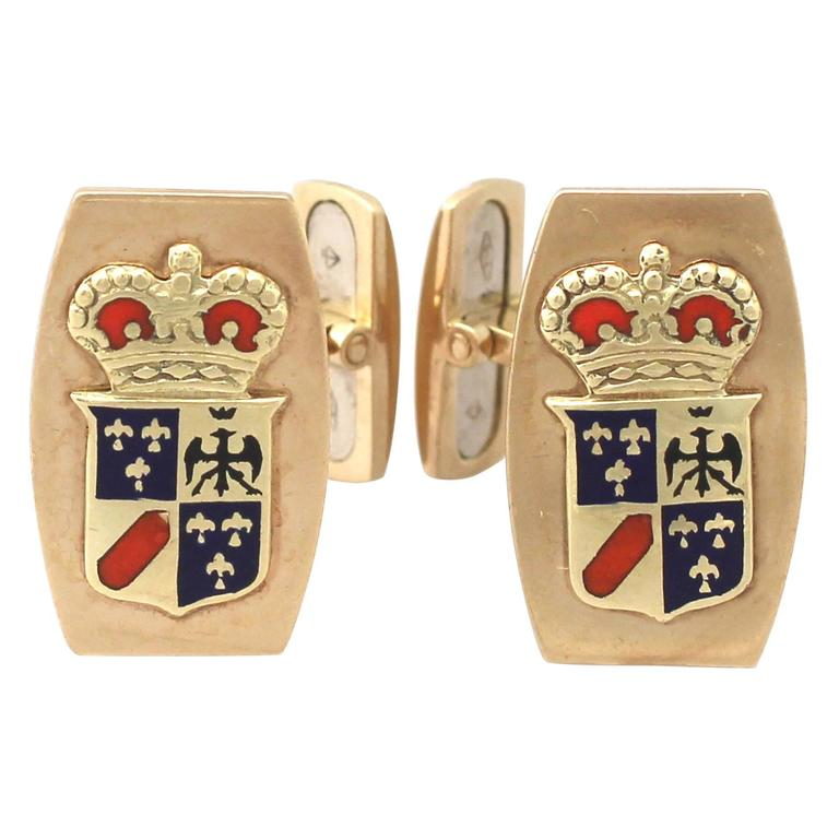 Cufflinks in 9k Yellow Gold and Enamel - Vintage Circa 1970