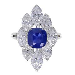 3.73 Carat Kashmir Sapphire Marquise Diamond Platinum Cluster Ring