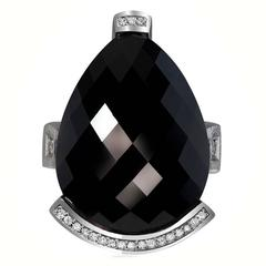 Diamond Black Spinel Gold Swan Ring by Alex Soldier. Handmade in NYC.