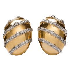 Diamond Gold Platinum Earrings