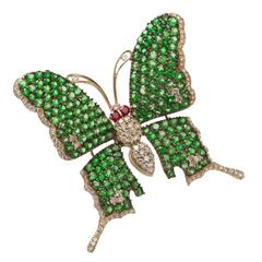 Tsavorite Garnet Diamond Gold Butterfly Brooch