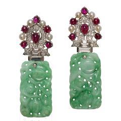 Art Deco Jade Pearl Ruby Diamond Platinum Earrings