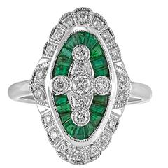 1.00 Carats Emerald Diamond Gold Ring