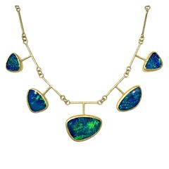 Petra Class Green Flash Blue Opal Five Element Handmade Link Gold Necklace