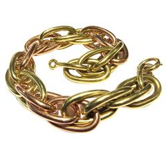 1940s Bold Dramatic Two Color Gold Large Oval Link Bracelet