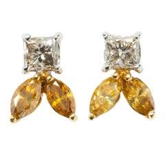 Diamond Gold Stud Earrings