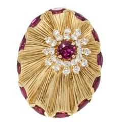 Ruby Diamond Gold Starship Ring