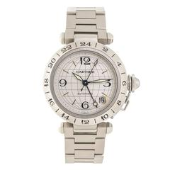 Cartier Stainless Steel Pasha C GMT Automatic Wristwatch