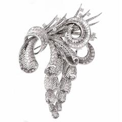 French Triple Clip Diamond Platinum Floral Bouquet Brooches Pins