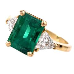 3.30 Carat GIA Cert Colombian Emerald Diamond Gold Engagement Ring