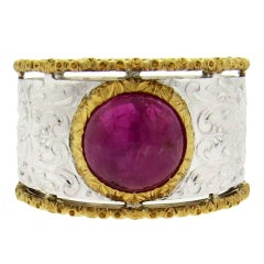 Buccellati Two Color Gold Ruby Cabochon Wide Band Ring